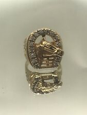 Mens CZ Lucky Horseshoe Ring 14K Yellow Gold 12.4 grams size 9.5