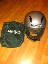 HJC Full Face Motorcycle Helmet Silver Black Model HJ-09C Size XL w/Carrying Bag