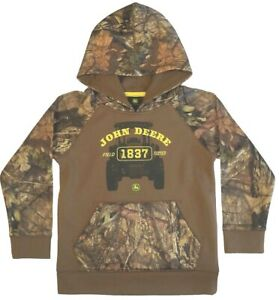 NEW John Deere Boys Brown Camo Tractor Hoodie Sweatshirt 4 5 6