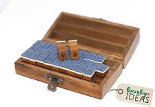 30 Stempel abc Alphabet  Kleinbuchstaben Set in Holz Box