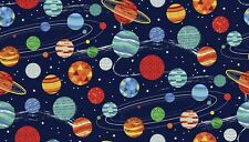 GALAXY Planets on navy Cotton fabric Makower Size 55 cm x 50 cm larger available