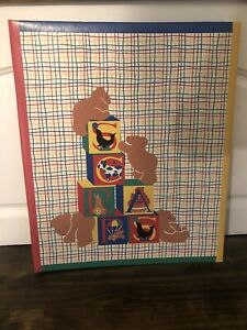 VTG 1985 Gear Kids primary colors baby scrapbook CR Gibson bears blocks unused