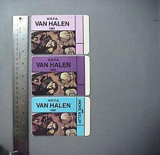 Van Halen satin backstage passes 3 Authentic W.D.F.A. 1981 Tour Rectangles