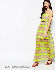 Aryn K Talk to the Bands Striped Silk Maxi Dress in Neon Yellow and Taupe M UK12