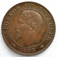 1853 A France Bronze Uncirculated 5 Centimes Coin French Five Cent Coin