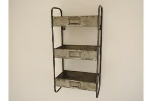 Vintage Industrial Metal Tray Wall- Small Wall Unit Storage
