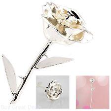 Rose Flower Dipped Silver Platinum Long Stemmed Unique Gift Decor Thanksgiving