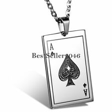 """Mens Stainless Steel Ace of Spades Poker Card Tag Pendant Necklace Chain 22"""""""