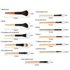 Set 12pcs Holz Make-up Pinsel Kit Lidschatten Foundation Kit + Leopard Print