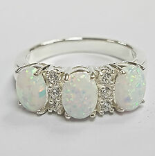 Victorian Style White Fire Gilson Opal Trilogy Ring 925 Sterling silver Size S/9