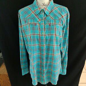 Wrangler Women's Plaid Western Snap up Shirt Size XL Long Sleeve Metallic