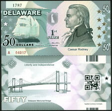 ACC STATE BANK NOTE SERIES: DELAWARE POLYMER FANTASY ART BILL CAESAR RODNEY!