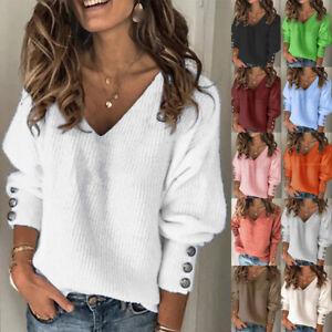 UK Womens Loose Tee Sequins Casual Sweatshirt Blouse Ladies Knitted Jumper Tops