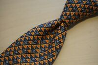 Hermes Floral Orange Blue Geometric Triangle Silk Mens Tie 7775 FA