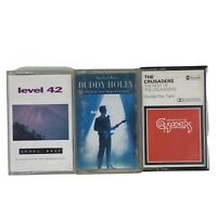 Vintage 3 Cassette Tapes Bundle Buddy Holly Level 42 The Crusaders With Inlays.