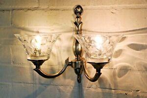 Wall Lights 3 Vintage Lights Quality Lighting Design Brass & Glass Antique Style