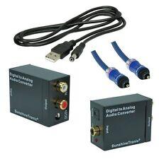 Digital zu Analog Audio Konverter + 0,7m Toslink(BlueLine) + USB-DC Kabel
