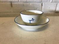 Antique Chinese Export Porcelain Tea Bowl Cup & Saucer w Blue Foliage Decoration