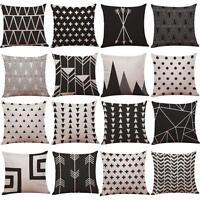 Vintage Noir & blanc coton lin Jeté de lit housse de coussin taie d'oreiller