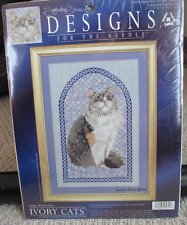 NIP Leslie Anne's Ivory Cat Persian Cat Counted Cross Stitch Kit #5601