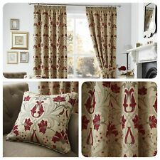 Curtina Floral Damask Red and Gold Lined Pencil Pleated Curtains OR Cushions