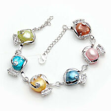 Fashion Women's Natural 10-11mm Multicolor Baroque Freshwater Pearl Bracelet