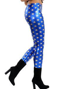 Girls Kids Golden Star Shiny Metallic Blue Leggings Wet Look Stretchy Dance Wear