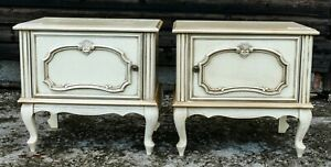 Vintage LOUIS XV French Style Painted Oak Bedside Cabinets! (SOMBS13)