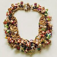 """Vintage MIRIAM HASKELL Bib Necklace Wood Plastic Glass 1940's Collar Signed 20"""""""