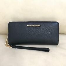 NEW Michael Kors Black Leather Gold Continental Zip Around Wallet Wristlet