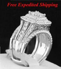 14K White Gold Princess Diamond Engagement Ring Ladies Wedding Band Bridal Set