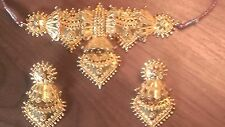 24 Carat Gold  Plated Indian Wedding Necklace And Earring Set!