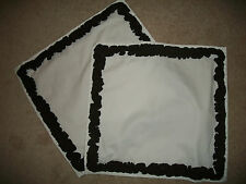 """White Cotton Brown Ruffled Square Placemats (2) 19x20"""" Unbranded"""