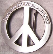 Pewter Belt Buckle Peace Symbol There are no Winners in War NEW