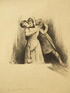 Hubert Herkomer; pencil signed antique drypoint etching; 1800's