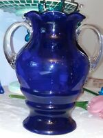 Art Glass Vase Cobalt Blue, Applied Crystal Clear Handles Ruffled Rim