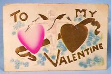 Vintage To My Valentine Postcard Embossed Cupid Hearts #9
