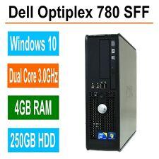 DELL OPTIPLEX 780 SFF PC ~ WINDOWS 10 ~ INTEL CORE 2 DUO 3.0GHz  ~ 250GB ~ 4GB