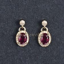 Gemuine Solid 14K Yellow Gold 2.26ct Blood Ruby Natural Diamond Drop Earrings