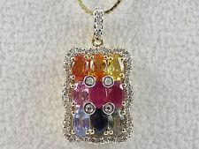 "14K Rainbow Sapphire Diamond Necklace 18"" Multi-Color R. Klein Pendant Blue Red"
