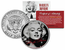 """Marilyn Monroe """"Portrait w/ Signature"""" Kennedy Half Dollar U.S. Coin Licensed"""