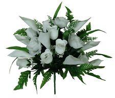 "White 17"" Tall Mixed Flowering Bouquet Silk Flower Home Office Wedding Decor"