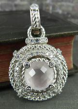 Judith Ripka Sterling Rose Quartz and Diamonique Pendant / Enhancer
