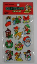 VINTAGE RUSS BERRIE CHRISTMAS STICK ONS 12 HOLIDAY PUFFY STICKERS SEALED!