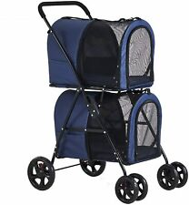 Portable Double Pet Stroller with Detachable Carrier Small Dog Cat Cage Jogging
