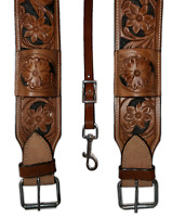 "GENUINE LEATHER GIRTH CINCH BLACK PAINTED FLORAL WESTERN FLANK BILLET 36"" TOOLED"