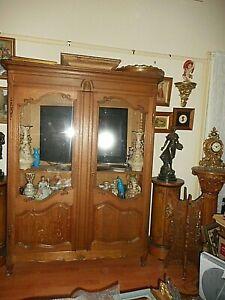 Antique solid oak French Roccoco style vintage 2 door cupboard