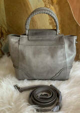 New~Frye Distressed Leather Mini Riviana Tote Bag Satchel~Ice Gray