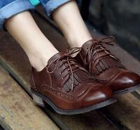 Vintage Ladies Womens School Brogue Lace Work Oxford Flat Shoes Pumps Size 1112