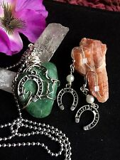 Green Aventurine Pendant.            Hand Wire Wrap Horse Shoe Jewelery Set